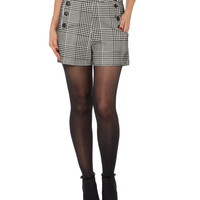 Voodoo Vixen Flocked Houndstooth High Waisted Shorts