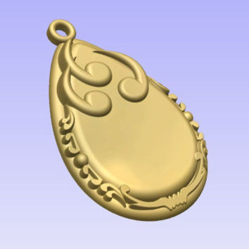 Stl 3d models of DROP SHAPED PENDANT for cnc carving vectric aspire cut3d artcam 3d printer