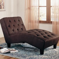 Accent Seating Brown Microfiber Chaise by Coaster - modern - chairs - san francisco - by CheaperFloors