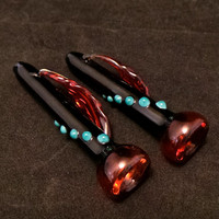 Native Medicine: Turquoise Red and Black Glass Pipe One Hitter with Feather