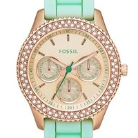 Fossil 'Stella' Crystal Bezel Multifunction Silicone Strap Watch, 37mm | Nordstrom