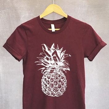 Large Pineapple Shirt in Maroon