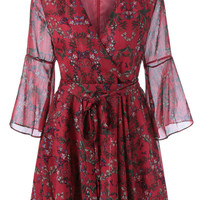 Bell Sleeves Retro Style V-Neck Floral Print Dress