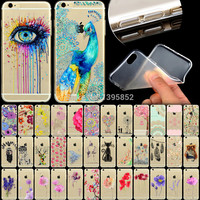 "Phone Case Cover For iPhone 6 6s 4.7"" Ultra Soft TPU Transparent Flowers Animals Cat Feather Peacock Patterns Back Design"