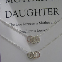 Mother Daughter Jewelry. Mother Daughter Necklace // Mother Daughter // inspirational Jewelry // Simple Delicate Sterling Silver