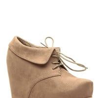 Taupe Faux Suede Lace Up Ankle Booties