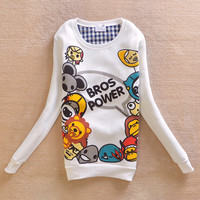 Pullover Hoodies Print Tops Sports Round-neck Jacket [9036925196]