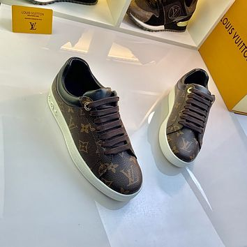 2021 LV Louis Vuitton Women Leather HIGH Top Sneakers Shoes BROWN