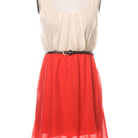 Lace Detail High Low Belted Dress - Coral