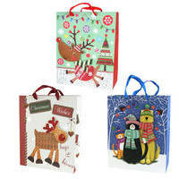 Christmas Reindeer and Pets Glitter 3D Gift Bags, 12-1/2-Inch, 3-Piece