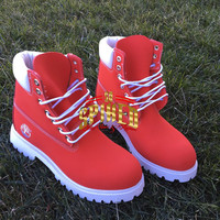 READY TO SHIP! Custom Red Timberlands