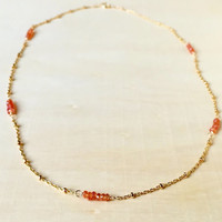 Rare, Padparadscha Sapphires with 14k Gold Fill Satellite Chain, Hand Wrapped Station Necklace, Beaded Gemstones, Anniversary Gift, Natural