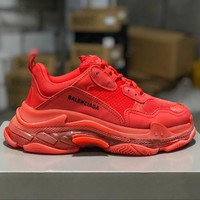 Balenciaga Triple S Clear Sole Trainers Red Sneakers - Best Online Sale
