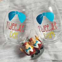 Disney Wine Glass Set, Tweedle Dee Tweedle Dum Wine Glasses, Best Friends Wine Glass Set