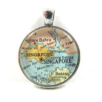 Vintage Map Pendant of Singapore, in Glass Tile Circle