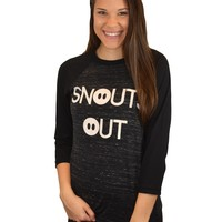 SNOUTS OUT BASEBALL TEE - CHARCOAL