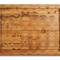 Proteak Teak Cutting Board Rectangle 16-by-12-by-2-Inch with Juice Canal, End Grain