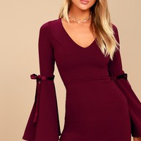 Once in a While Burgundy Bell Sleeve Bodycon Dress