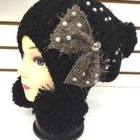 New Fashion Lovely Warm Winter Knitted Pom-Pom Ball Beanie Hat Woman Girls - Black Color
