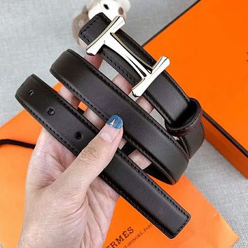 Hermes Newest Trending Men H Letter Buckle Belt Leather Belt Coffee
