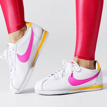 NIKE Classic Cortez Hot Sale Women Leisure Sport Running Shoes Sneakers White&Pink&Yellow