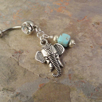 Indian Elephant Belly Button Ring with Turquoise Navel Jewlery