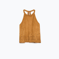 Cut work faux-suede top