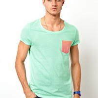 ASOS T-Shirt With Contrast Ombre Pocket at asos.com
