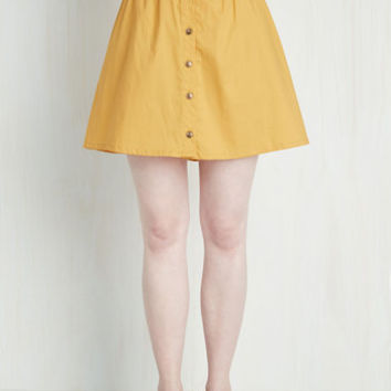 80s Short Length A-line Curry Your Enthusiasm Skirt in Marigold