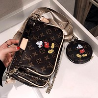 LV x DISNEY Women's Retro Mahjong Bag Shoulder Bag Messenger Bag Three Piece Set