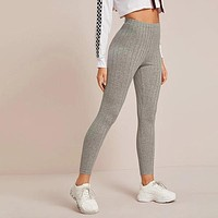 Elastic Waist Rib-knit Leggings