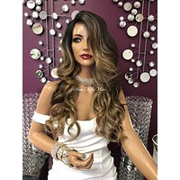 """Balayage Highlights Ombré Brown Blond Lace Front Wig 22"""" 