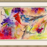 """Bird in Berry Tree Modern Mixed Media"" by Ginette Callaway"