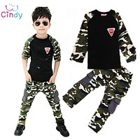 Camouflage Kids Clothing Set for Boys&Girls Cotton Boys Sports Set Girls kids clothes
