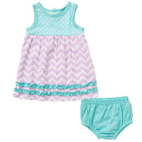 Koala Baby Girls' 2 Piece Mixed Print Ruffled Tank Dress and Diaper Cover Set