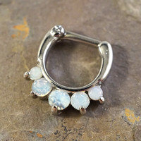 14 Gauge White Opalite Crystal Septum Ring Clicker Daith Ring Nose Piercing