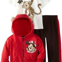 Little Rebels Baby Boys 3 Piece Hooded Jacket, Pullover and Stripes Pant