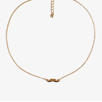 FOREVER 21 Mustache Charm Necklace Gold/Gold One