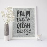 Palm Trees Ocean Breeze Wall Art Print