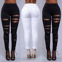 High Waisted Skinny Ripped Denim Jeans