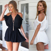 Fashionable Sexy Loose Off Shoulder Strap V Neck One Piece Dress b66