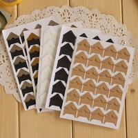 24 Pcs lot DIY Vintage Corner kraft Paper Stickers for Photo Albums Frame Decoration Scrapbooking Free shipping