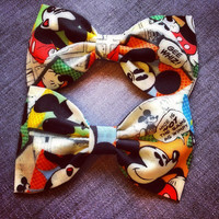 Retro Comic Mickey Mouse print Fabric bowtie or hairbow