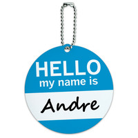 Andre Hello My Name Is Round ID Card Luggage Tag