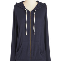 ModCloth 90s Mid-length Long Sleeve Hoodie Layers Well with Others Hoodie in Navy