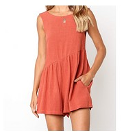 Summer new sexy sleeveless pocket casual jumpsuit RED