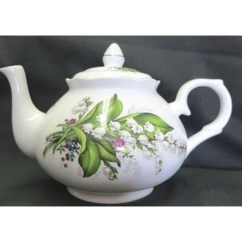 6C Lily of the Valley English Bone China Teapot