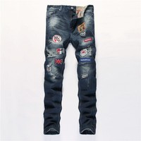 Ripped Holes Slim Pants Jeans [6541763203]
