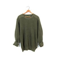 90s Army Green Sweater Textured Thermal Knit Cotton Boyfriend Sweater Basic Grunge Knit Pullover Long Underwear Sweater Vintage Mens Meidum