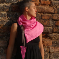 Pink Infinity Scarf  Scarf, Linen Loop scarf, Unique Pink Accessory, Geometric